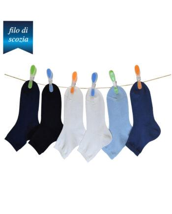 6 paia di calze corte bambino in cotone filo di scozia mod. unito – spedizione gratuita