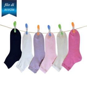 6 paia di calze corte bambina in cotone filo di scozia mod. unito – spedizione gratuita