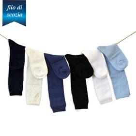 6 paia di calze lunghe bambino in cotone filo di scozia mod. unito – spedizione gratuita