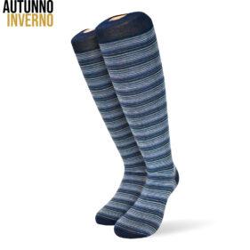 6 paia di calze lunghe da uomo multiriga in cotone pettinato mod. righe126 – spedizione gratuita