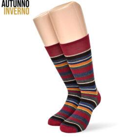 6 paia di calze corte da uomo multiriga in cotone pettinato mod. multistripe01 – spedizione gratuita