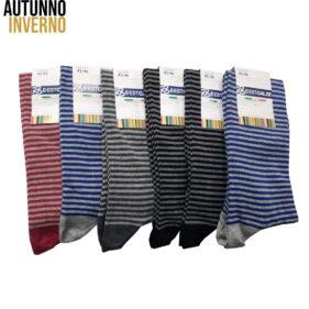 6 paia di calze lunghe uomo rigate in cotone pettinato mod. roger – spedizione gratuita