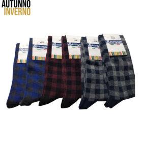 6 paia di calze lunghe uomo disegno tartan in cotone pettinato mod. fog – spedizione gratuita