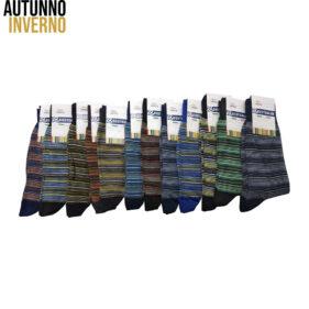 6 paia di calze lunghe da uomo multiriga in cotone pettinato mod. multistripe01 – spedizione gratuita