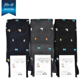 6 paia di calze lunghe da uomo micro disegno cactus-granchio-papera in cotone filo di scozia mod. friendly – spedizione gratuita